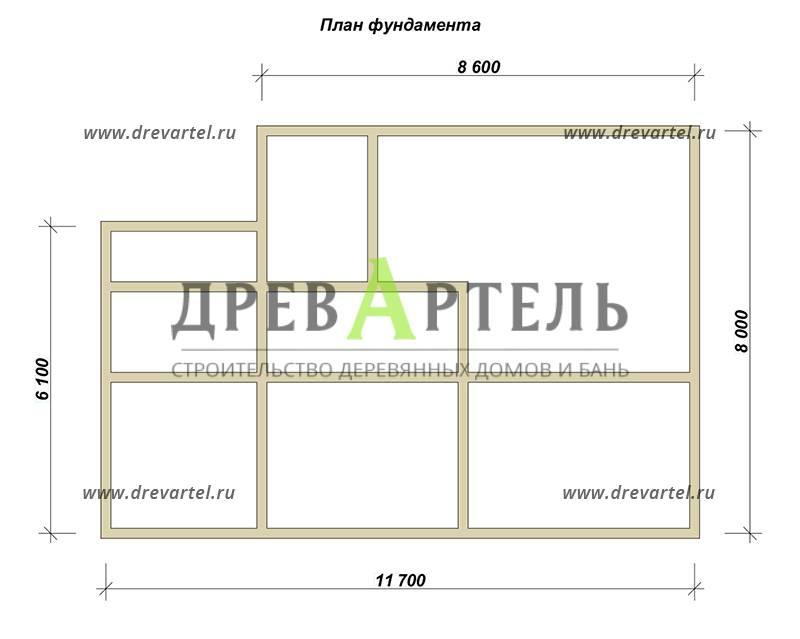 План ленточного фундамента - Одноэтажный дом из бруса 8х12