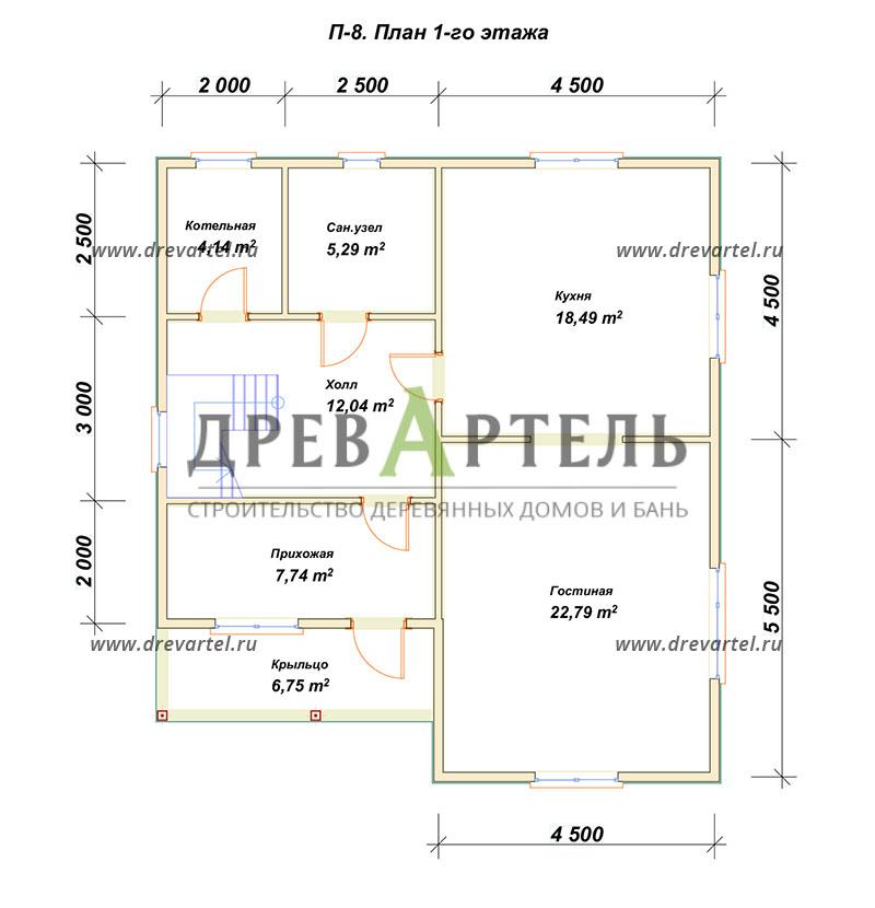 План 1-го этажа - Дом из бруса 9х10 в полтора этажа