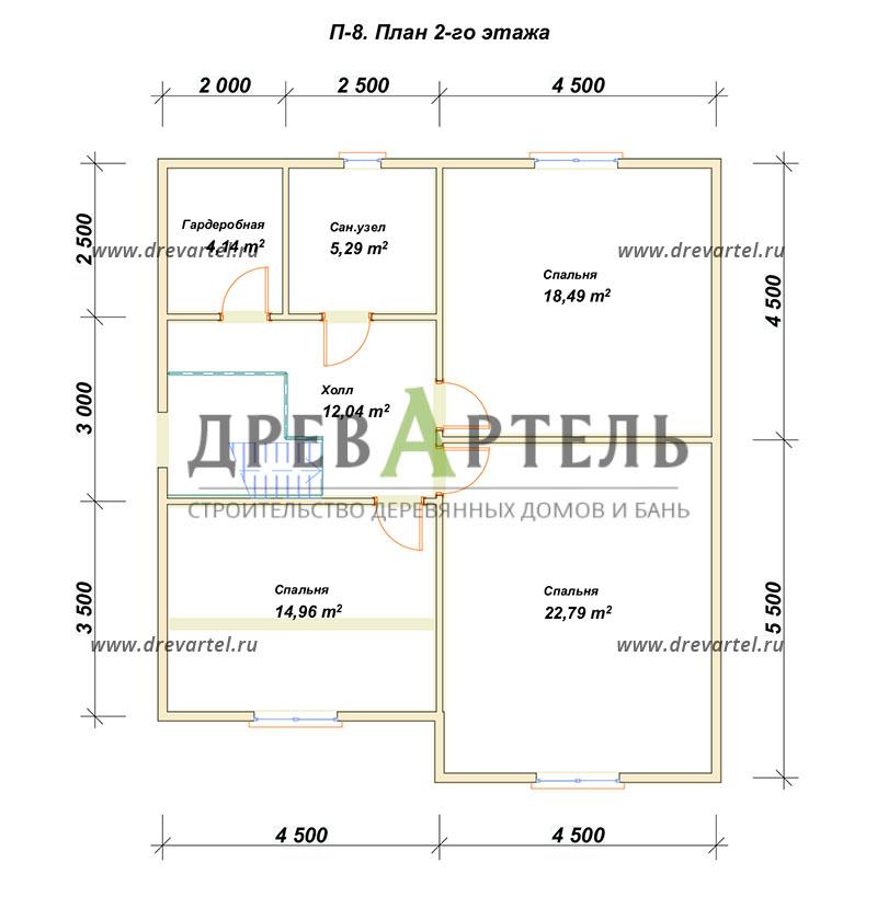План 2-го этажа - Дом из бруса 9х10 в полтора этажа