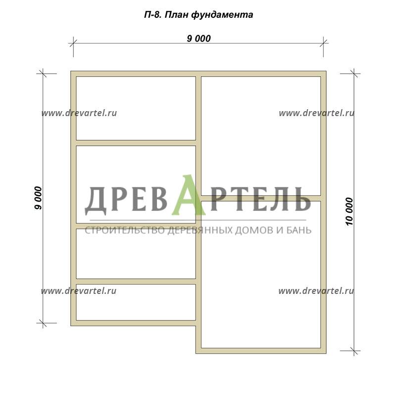 План ленточного фундамента - Дом из бруса 9х10 в полтора этажа