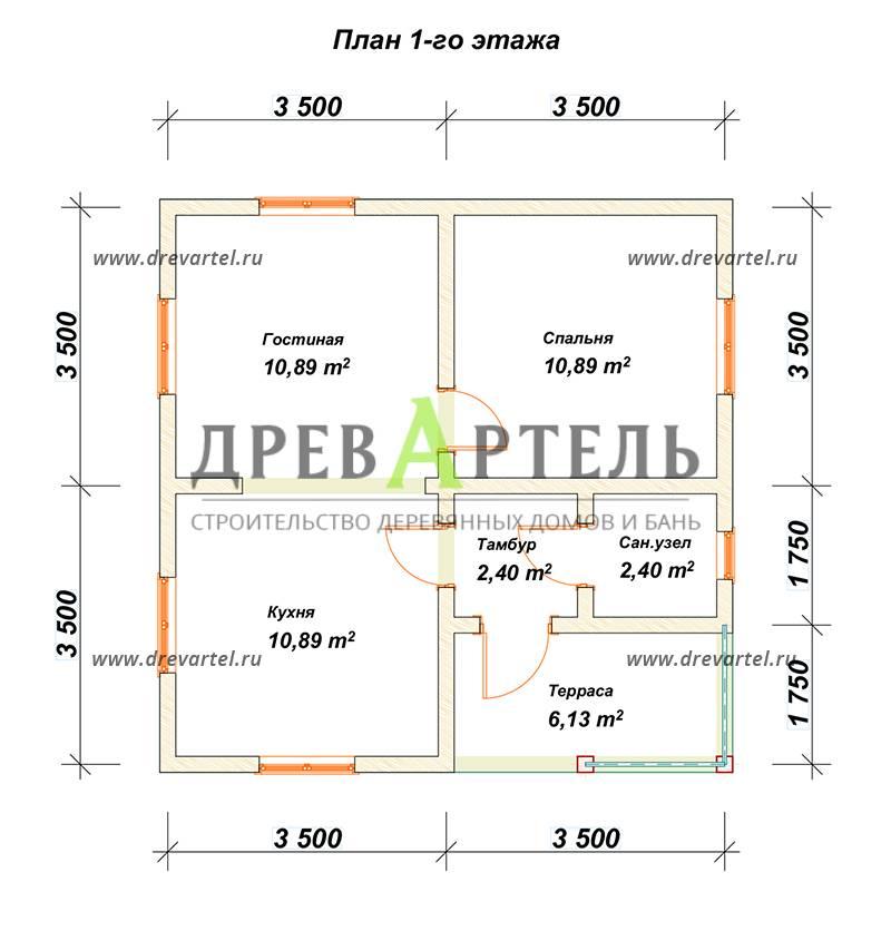 План 1-го этажа - Проект одноэтажного дома из бруса 7х7