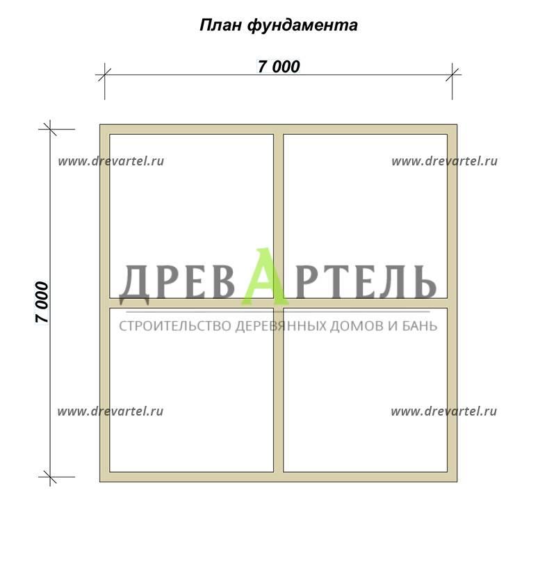 План ленточного фундамента - Проект одноэтажного дома из бруса 7х7