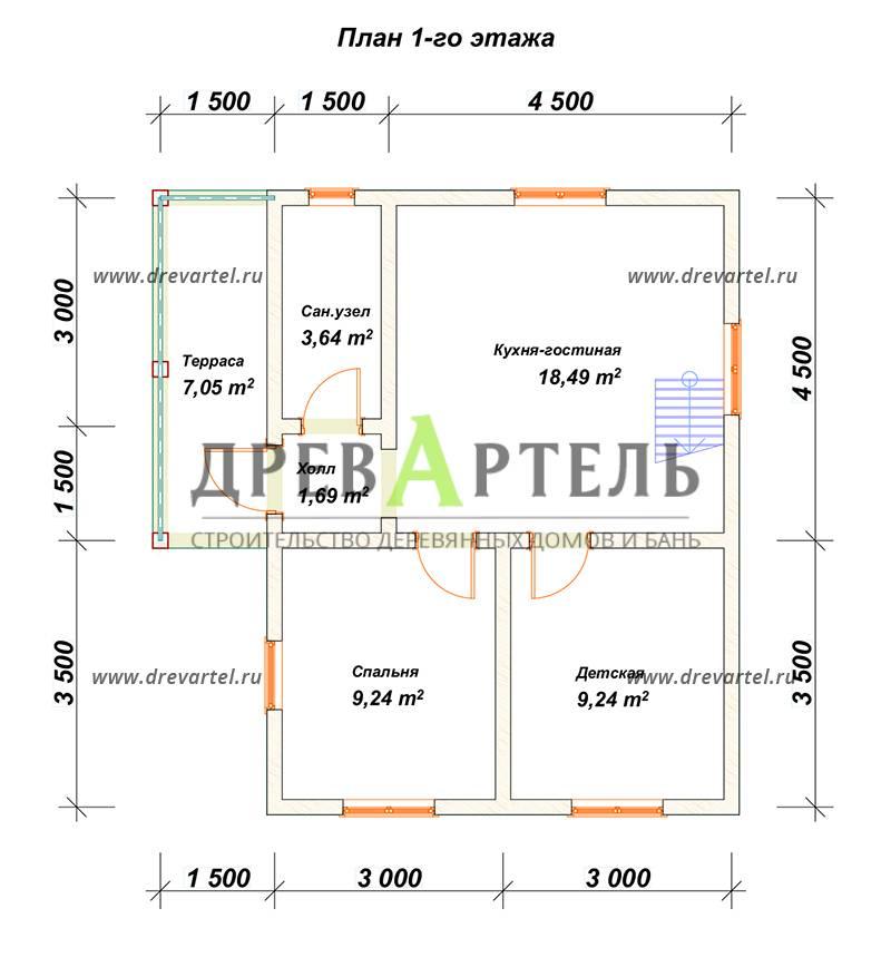 План 1-го этажа - Полутораэтажный дом из бруса 6х8