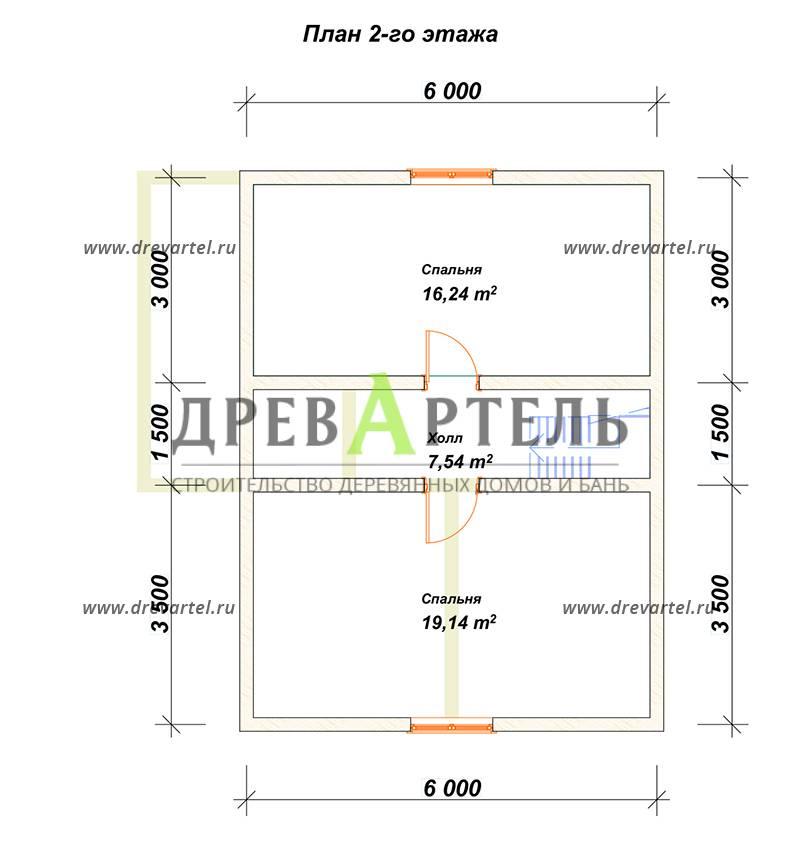 План 2-го этажа - Полутораэтажный дом из бруса 6х8
