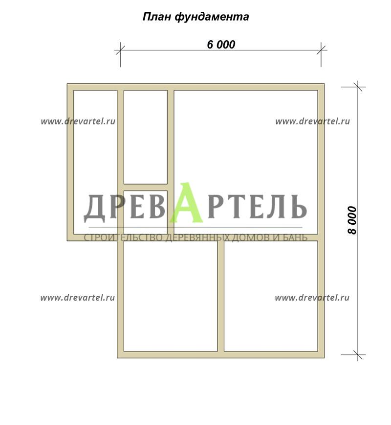 План ленточного фундамента - Полутораэтажный дом из бруса 6х8
