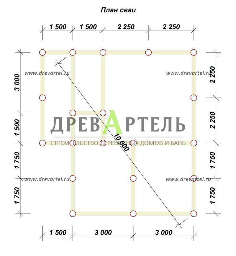План свайного фундамента - Полутораэтажный дом из бруса 6х8