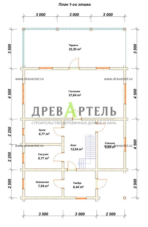 План 1-го этажа - Дом из бруса 9х9 с террасой