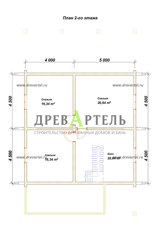 План 2-го этажа - Дом из бруса 9х9 с террасой