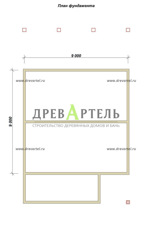 План ленточного фундамента - Дом из бруса 9х9 с террасой