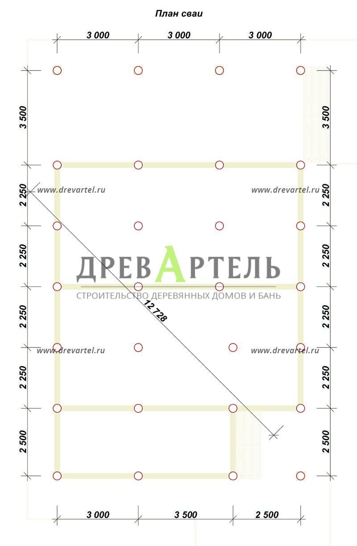 План свайного фундамента - Дом из бруса 9х9 с террасой