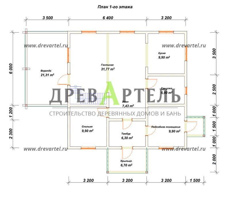 План 1-го этажа - Дом из бруса 9х9 в два этажа