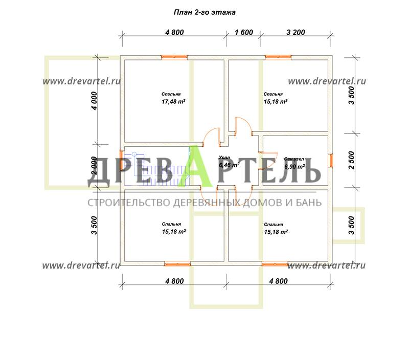 План 2-го этажа - Дом из бруса 9х9 в два этажа