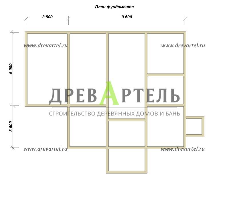 План ленточного фундамента - Дом из бруса 9х9 в два этажа