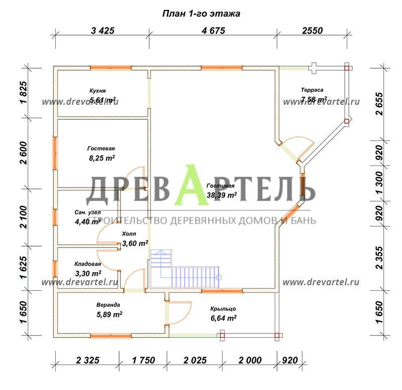 План 1-го этажа - Дом из бруса 8х8 с эркером и балконом