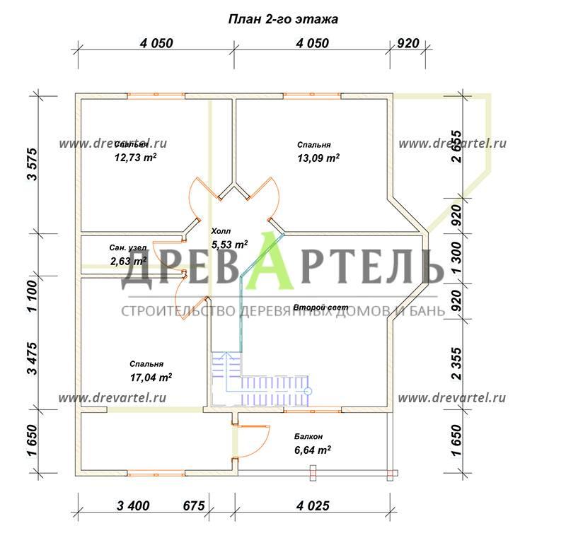 План 2-го этажа - Дом из бруса 8х8 с эркером и балконом