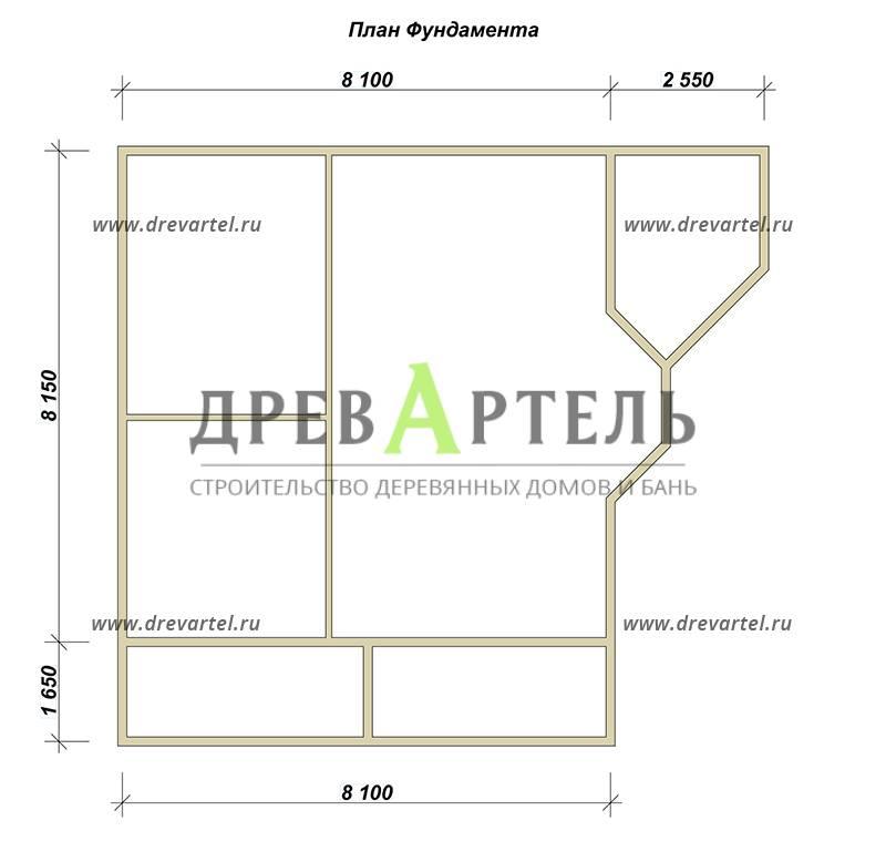 План ленточного фундамента - Дом из бруса 8х8 с эркером и балконом