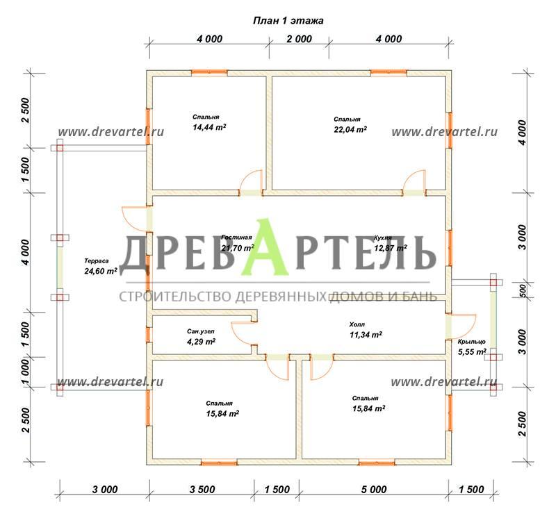 План 1-го этажа - Одноэтажный дом из бруса 10х13