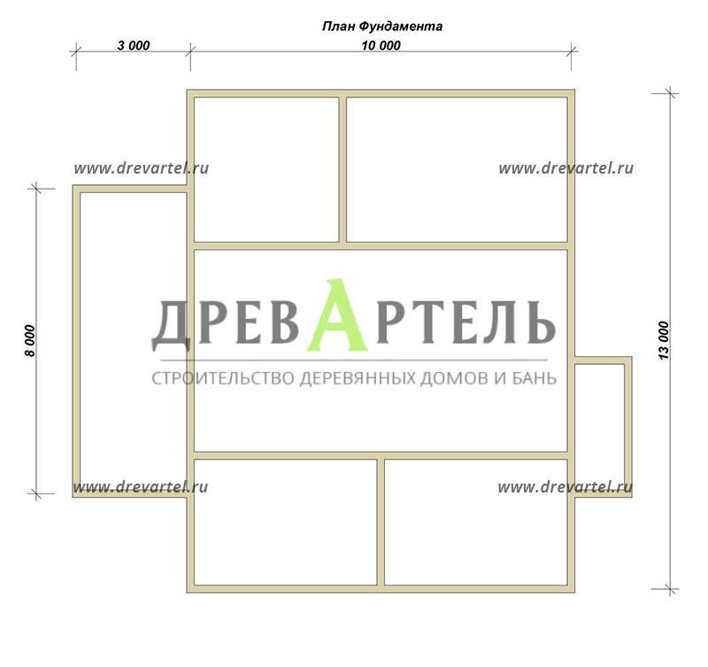 План ленточного фундамента - Одноэтажный дом из бруса 10х13