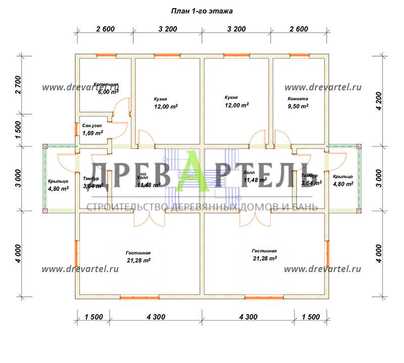 План 1-го этажа - Двухэтажный дом из бруса 11х11