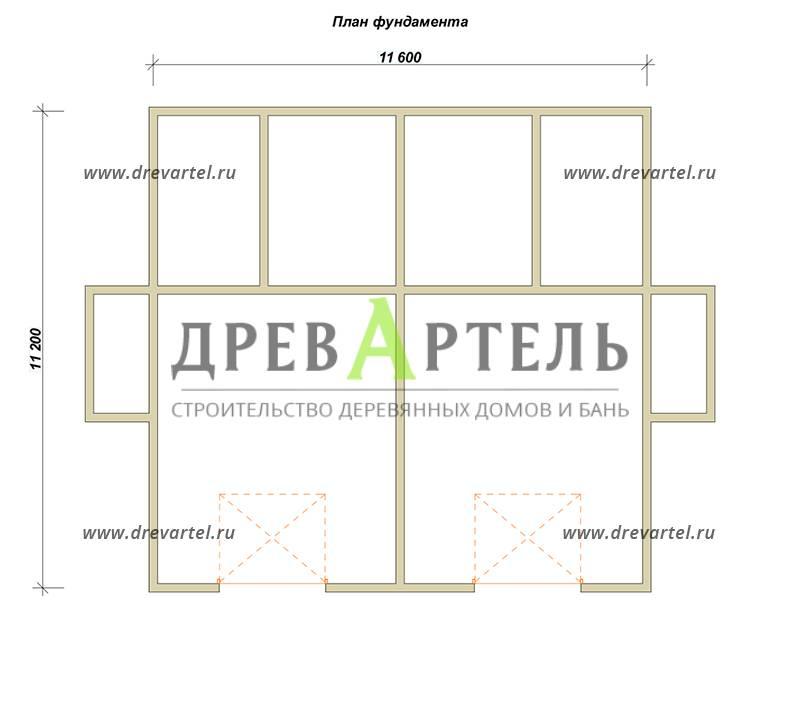 План ленточного фундамента - Двухэтажный дом из бруса 11х11