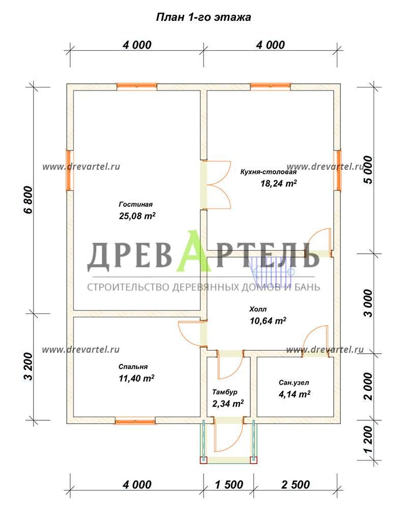 План 1-го этажа - Дом из бруса 8х10 – цена