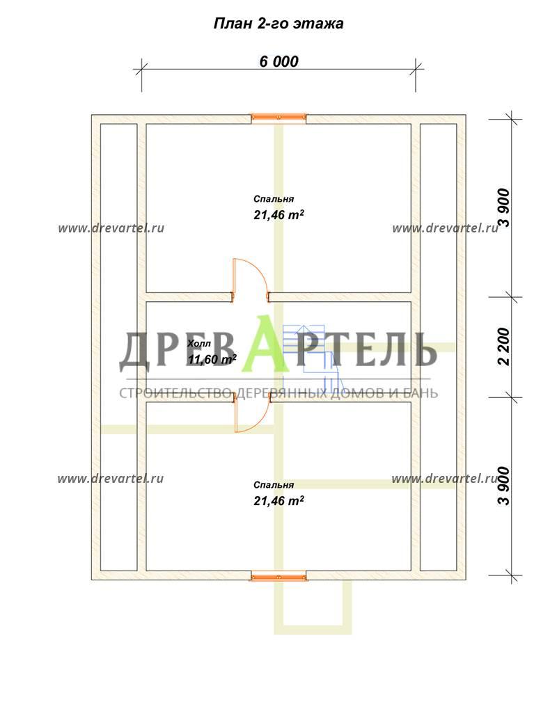 План 2-го этажа - Дом из бруса 8х10 – цена