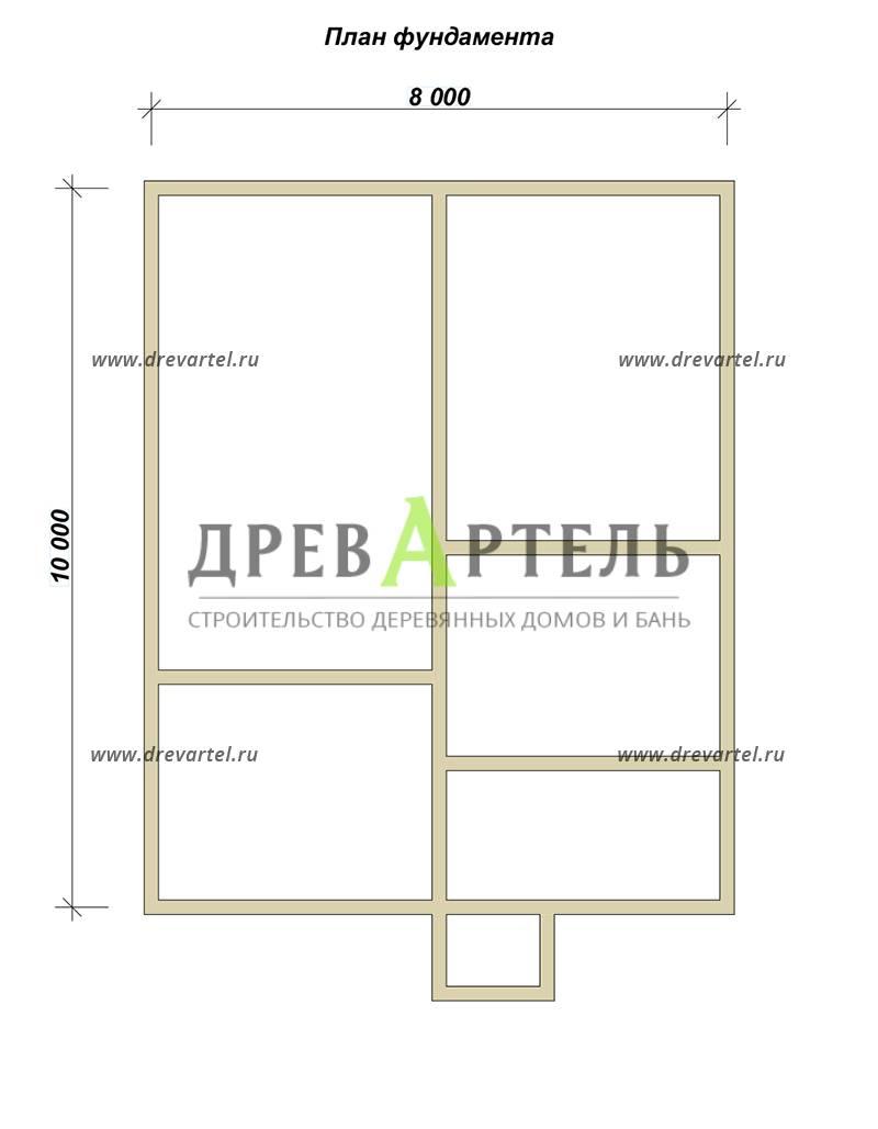 План ленточного фундамента - Дом из бруса 8х10 – цена