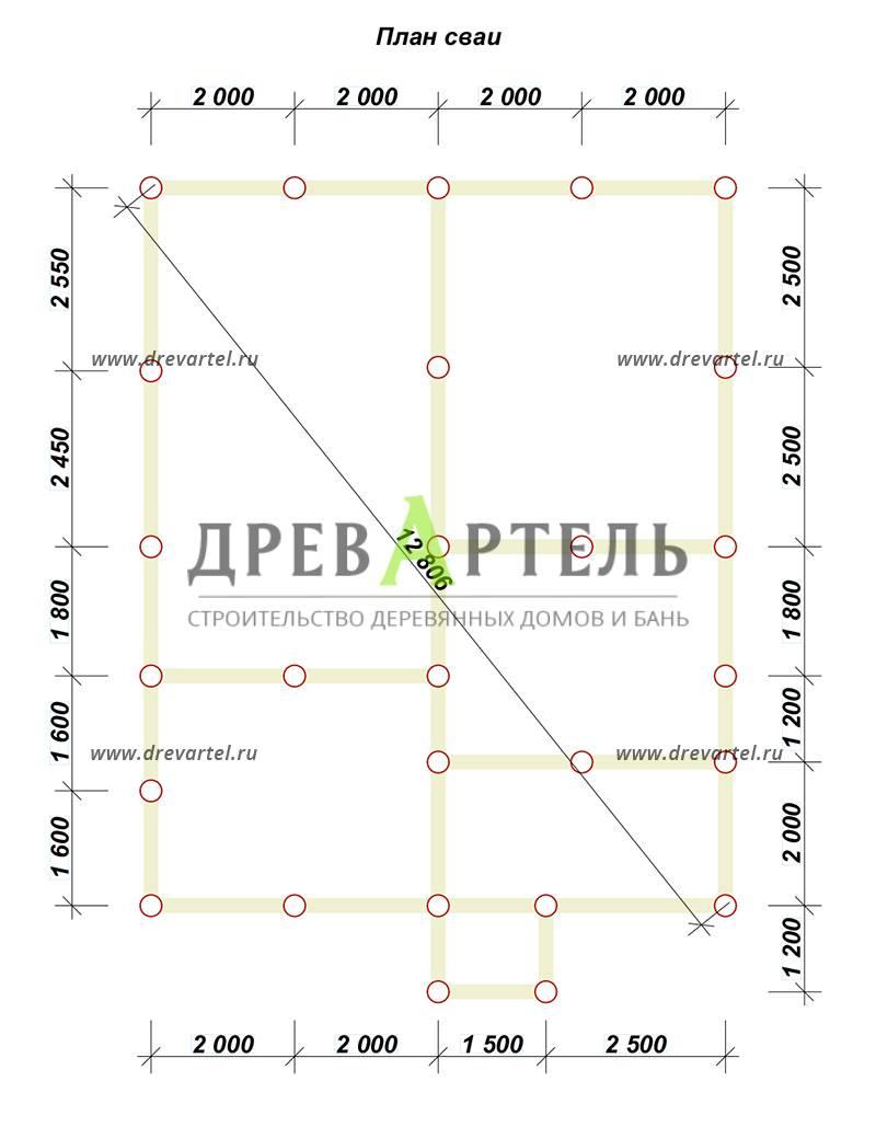План свайного фундамента - Дом из бруса 8х10 – цена