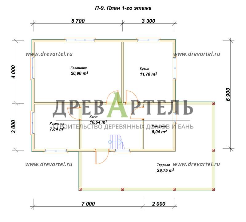 План 1-го этажа - Проект дома из бруса 9х11