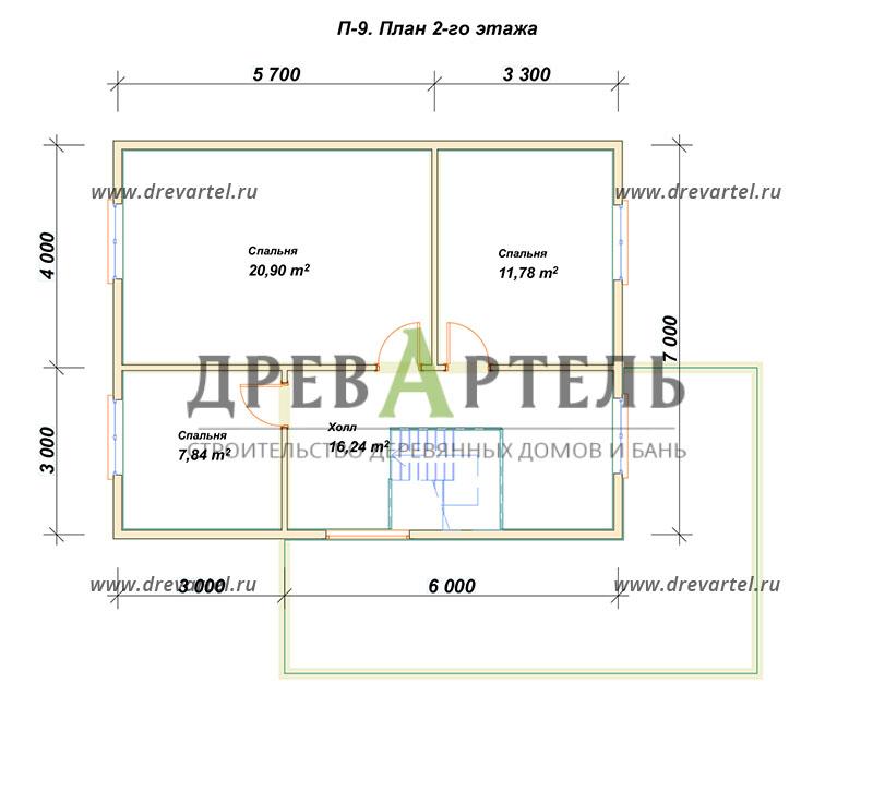 План 2-го этажа - Проект дома из бруса 9х11