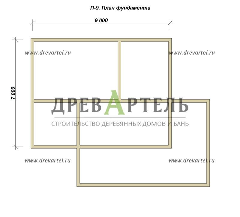План ленточного фундамента - Проект дома из бруса 9х11