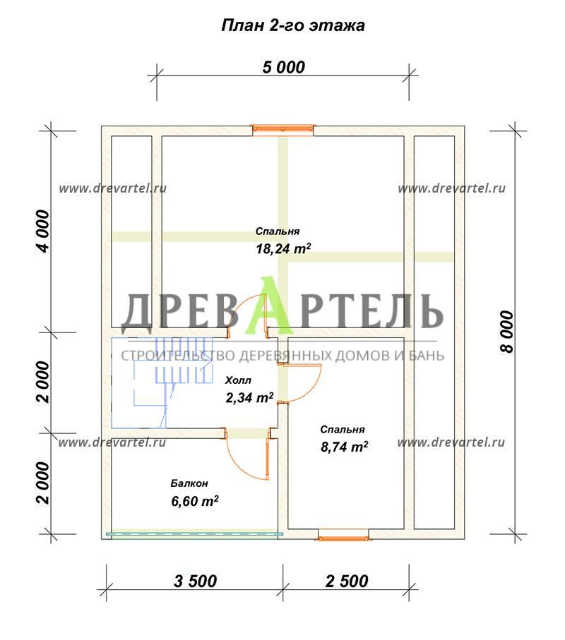 План 2-го этажа - Дом из бруса 7х8 с мансардой