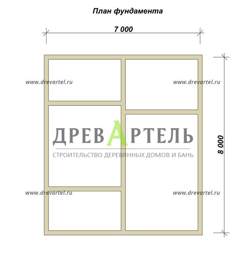 План ленточного фундамента - Дом из бруса 7х8 с мансардой
