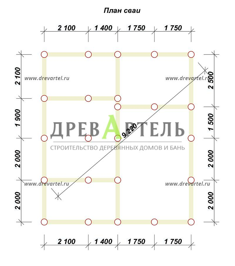 План свайного фундамента - Дом из бруса 7х8 с мансардой