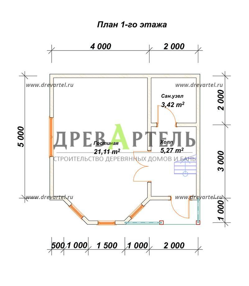 План 1-го этажа - Садовый недорогой домик из бруса 6х6