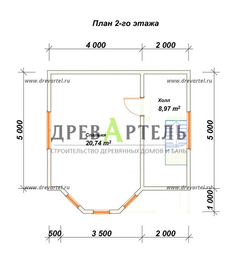 План 2-го этажа - Садовый недорогой домик из бруса 6х6