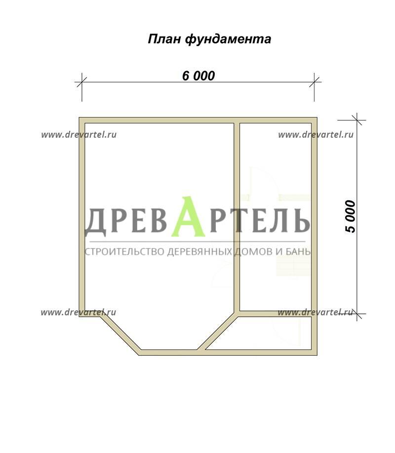План ленточного фундамента - Садовый недорогой домик из бруса 6х6