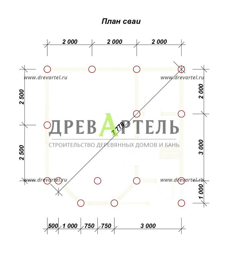 План свайного фундамента - Садовый недорогой домик из бруса 6х6