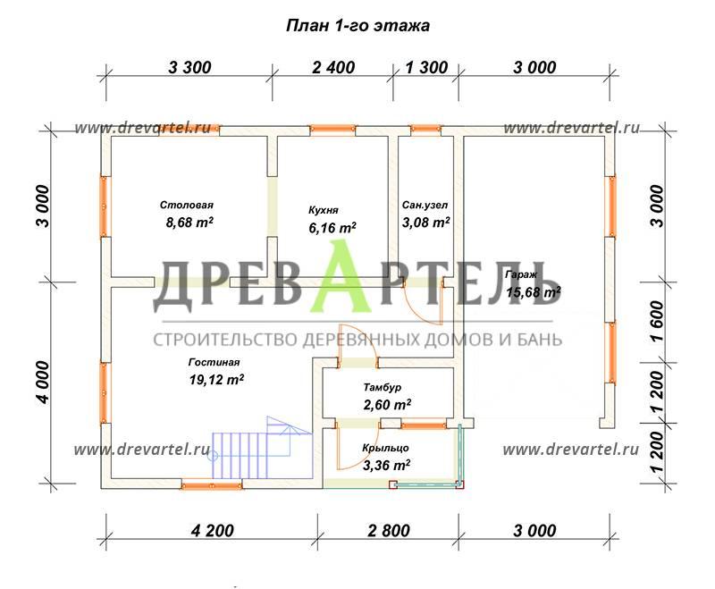План 1-го этажа - Дом из бруса 7х7 с гаражом