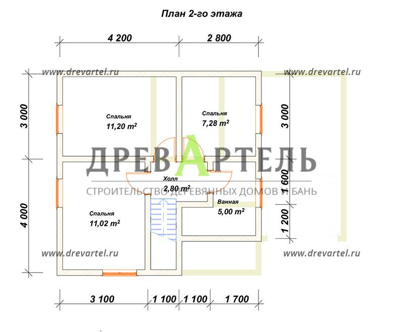 План 2-го этажа - Дом из бруса 7х7 с гаражом