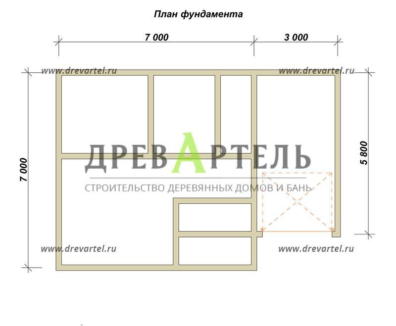 План ленточного фундамента - Дом из бруса 7х7 с гаражом