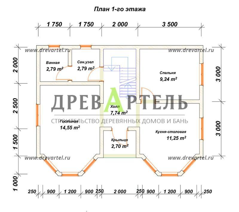 План 1-го этажа - Двухэтажный дом 7х9 из бруса