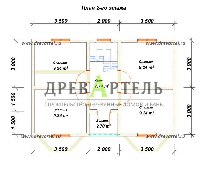 План 2-го этажа - Двухэтажный дом 7х9 из бруса