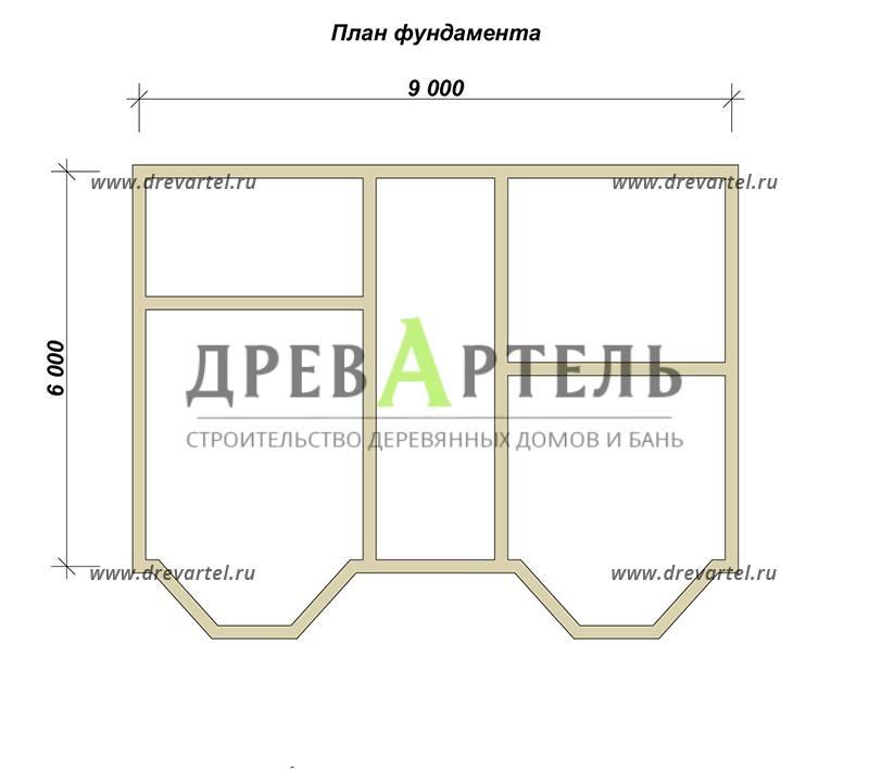 План ленточного фундамента - Двухэтажный дом 7х9 из бруса