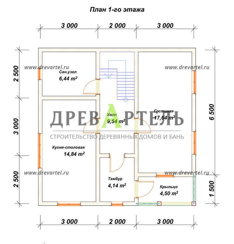План 1-го этажа - Дом из бруса 8х8 с кукушкой