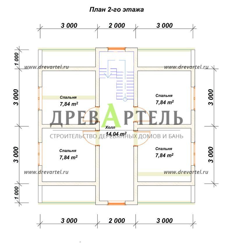 План 2-го этажа - Дом из бруса 8х8 с кукушкой