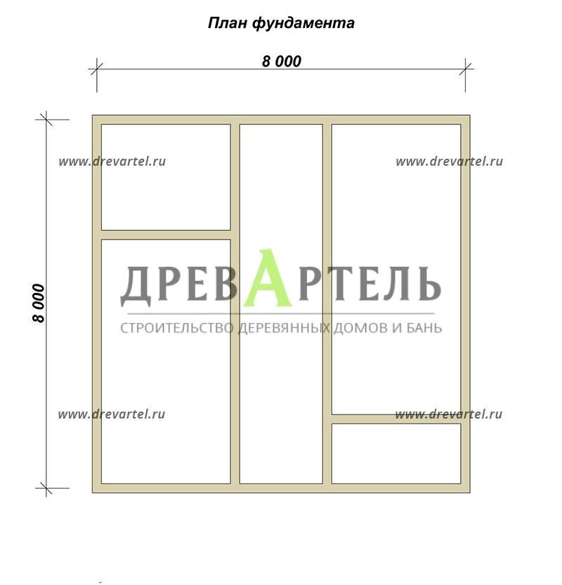 План ленточного фундамента - Дом из бруса 8х8 с кукушкой