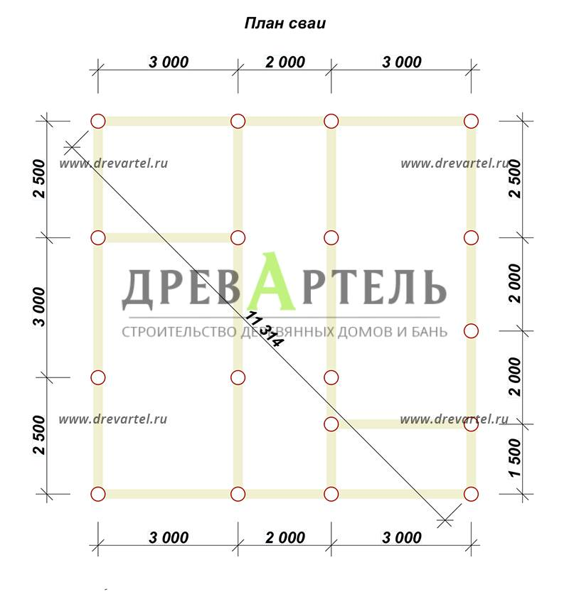 План свайного фундамента - Дом из бруса 8х8 с кукушкой