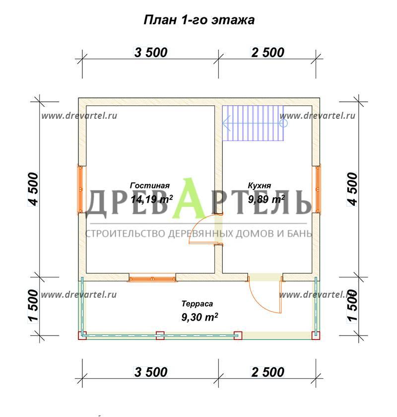 План 1-го этажа - Деревянный дачный дом из бруса 6х6