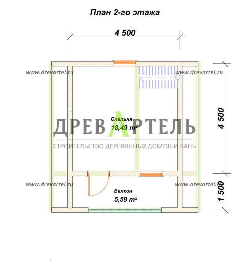 План 2-го этажа - Деревянный дачный дом из бруса 6х6